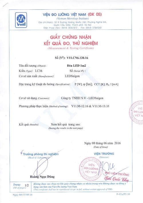 giấy chứng nhận kết quả thử nghiệm đèn led