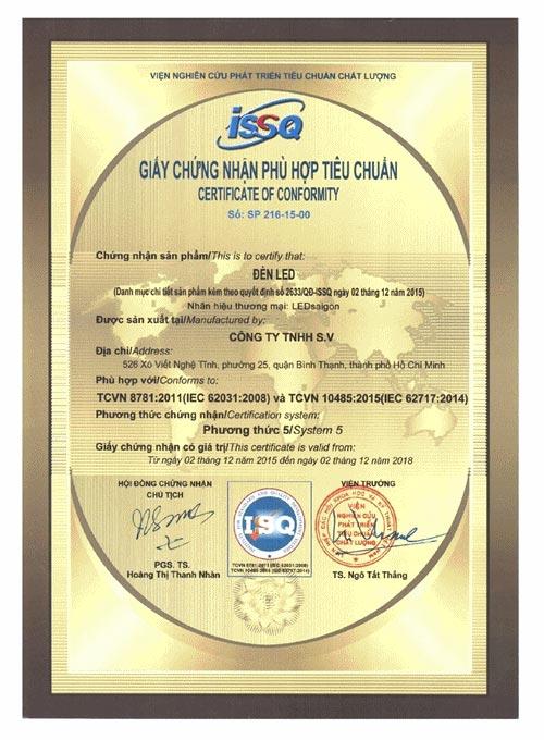 giấy chứng nhận phù hợp tiêu chuẩn